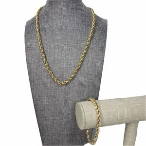 Mixed Metals Twisted Chains Necklace & Bracelet